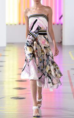 Printed Silk Satin Lupita Dress In Painted Flower by Preen by Thornton Bregazzi for Preorder on Moda Operandi
