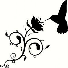 HUMMINGBIRD fluttering at a Swirly Flower vinyl wall art graphic decal sticker Bird Silhouette Art, Silhouette Portrait, Silhouette Vector, Silhouette Projects, Silhouette Cameo, Silouette Art, Silhouettes, Hummingbird Flowers, Painted Rocks