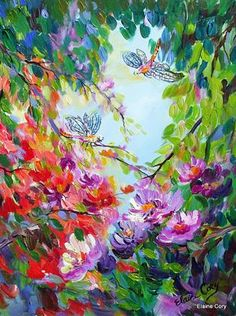 Original Painting dragonfly 24 x 30 by Elaine door ElainesHeartsong, $350.00