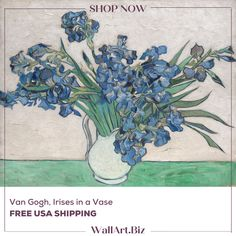 FRAMED & FREE USA SHIPPING A classic world famous painting by the master Van Gogh. Buy this fine art reproduction to enjoy in your home! Vincent Van Gogh, Iris, Flower Bottle, Van Gogh Art, Acrylic Paint Set, Guache, Easy Paintings, Mini Paintings, Love Painting