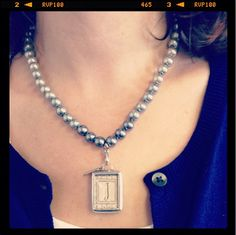 """Just add a charm clip to attach any charm to a favorite necklace.   This Jewel kade """"Georgia"""" initial features a vintage initial with a lacey background and a darling canning jar of roses with saying """"enjoy today"""" on the reverse.  So sweet!  Charm is enhanced with Ombre Pearl necklace. https://mycustomkeepsakes.jewelkade.com/Shop/Product/CH00172 www.mycustomkeepsakes.jewelkade.com"""