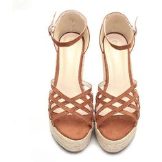 Yoins Brown Cross Over Braid Wedge Sandals ($51) ❤ liked on Polyvore featuring shoes, sandals, wedge heel sandals, brown sandals, woven sandals, braided wedge sandals and summer shoes