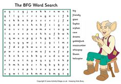Here's a fun word search puzzle for the kids to try, based on the Roald Dahl book The BFG and featuring some of the book's lovely made-up words! Bfg Roald Dahl, Roald Dalh, Roald Dahl Books, Bfg Activities, Roald Dahl Activities, Classroom Activities, The Bfg Book, Bfg Movie, Reading