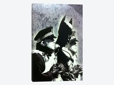 "Batman and The Police by Banksy Canvas Print 26"" L x 40"" H x 0.75"" D - eWallArt"