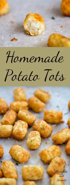 Homemade potato tots, shredded potato, cooked until crisp on the outside and fluffy inside
