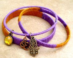 Hand Wrapped Boho Bangle Bracelet Stacks - Set of 3 - Om and Hamsa Bracelet - Copper and Purple- Bangle Bracelet Stack by TJsTreasureChest on Etsy