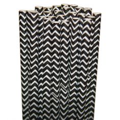 Chevron Black Paper Party Straws - $3.75 for 25 count