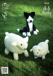 This King Cole knitting pattern leaflet 9010 will instruct you on how to create a cute sheep, lamb and sheepdog toy. Knitting Patterns Uk, Knitting Charts, Baby Knitting, Crochet Patterns, Baby Patterns, Knitting Needles, Fluffy Coat, Cute Sheep, Sheep And Lamb