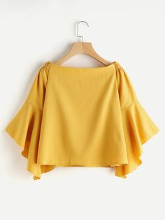 SheIn offers Boat Neckline Flute Sleeve Top & more to fit your fashionable needs. Crop Top Outfits, Cute Casual Outfits, Blouse Styles, Blouse Designs, Knit Vest Pattern, Yellow Clothes, Iranian Women Fashion, Clothing Hacks, Fashion Dresses