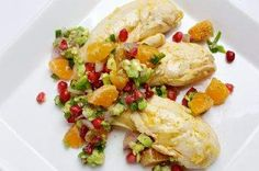 Tangerine Poached Chicken, served with sweet clementine-pomegranate relish.