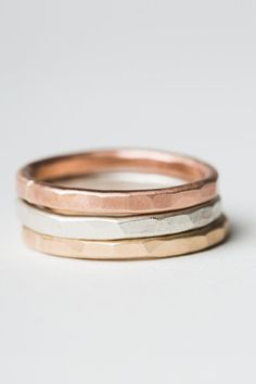 Tri Color Thick Stacking Ring Set  Three Thick Stacking Rings