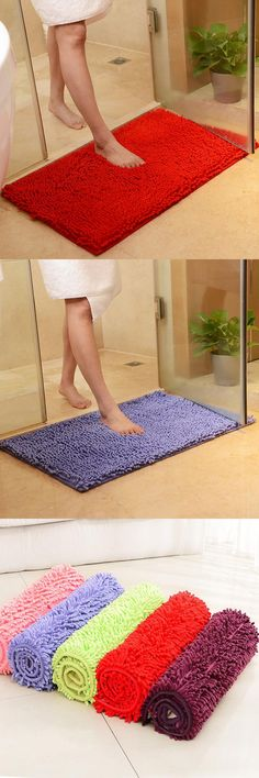 [Visit to Buy] Large Size 60*90cm/70*140cm Cheap Thicken Chenille Bath Mat, Bathroom Rug Carpet for Living Room Floor Mat Tapete De Banheiro #Advertisement
