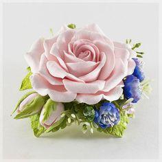 """Броши ручной работы. Ярмарка Мастеров - ручная работа. Купить Брошь """"Розовая роза"""". Handmade. Бледно-розовый, полимерная глина"""