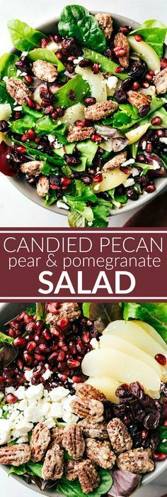BEST HOLIDAY SALAD! An easy to make and delicious side salad -- candied pecans, pears, pomegranates, dried cranberries, and feta cheese with a simple incredible raspberry poppyseed dressing.