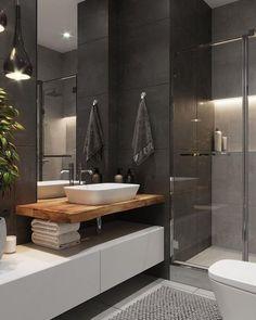 Interior Home Design Trends For 2020 - New ideas Rustic Bathroom Shelves, Rustic Bathroom Vanities, Bathroom Storage Shelves, Tiny House Bathroom, Modern Bathroom Decor, Bathroom Trends, Bathroom Layout, Bathroom Styling, Bathroom Renovations