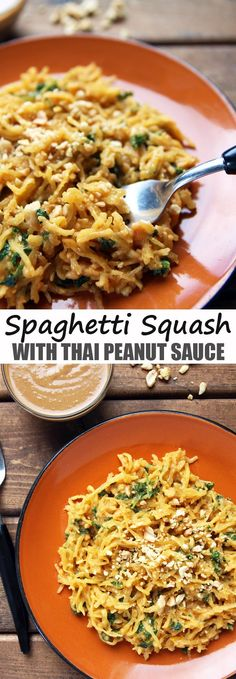 Spaghetti Squash with Thai Peanut Sauce - swap the peanut butter for almond butter and Wa La. amazing recipe turns spaghetti squash into a delicious Thai noodle dish that is vegan and gluten free. Veggie Dishes, Veggie Recipes, Asian Recipes, New Recipes, Whole Food Recipes, Vegetarian Recipes, Dinner Recipes, Cooking Recipes, Healthy Recipes