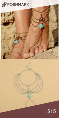 Boho barefoot sandles Bohemian style ankle bracelet with toe chain. Barefoot sandals. Silver only!!! Only one. Must buy two if you would like both feet. Only two available. Jewelry Bracelets