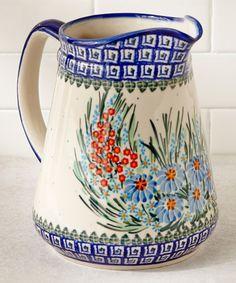 Another great find on #zulily! Blue Floral Jacek Pitcher by Lidia's Polish Pottery #zulilyfinds