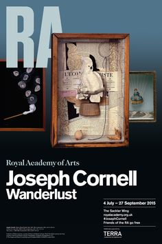 This poster featuring the image: A Parrot for Juan Gris, makes an excellent keepsake from the current Joseph Cornell: Wanderlust exhibition. Exhibition Poster, Museum Exhibition, Wanderlust Book, Joseph Cornell, Art Fund, Royal Academy Of Arts, Funny Dating Quotes, Summer Pictures, Packing Tips For Travel
