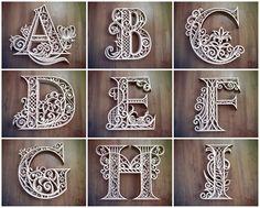 A-Z Alphabet Letters Bundle, Laser Cut DXF Alphabet, DXF Alphabet Letters, Multilayer Alhabet Letter Arte Quilling, Quilling Letters, Quilling Designs, Paper Quilling, Lettering Design, Hand Lettering, Paper Cutting, Routeur Cnc, Cnc Router