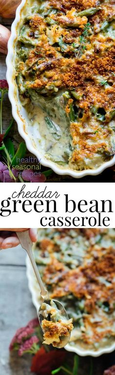 This absolutely delicious and easy from-scratch Cheddar Green Bean Casserole is the perfect Thanksgiving make-ahead dish that will have everyone raving.