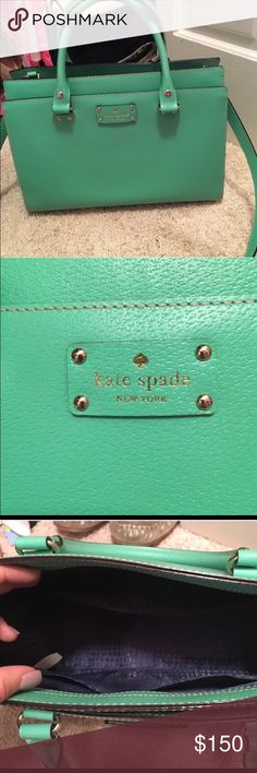 Kate Spade Durham in Bud Green Beautiful Green Kate Spade bag. Bought here in Aug but have way too many bags. In perfect condition. Navy blue Interior.  Matching wallet shown separate kate spade Bags Shoulder Bags