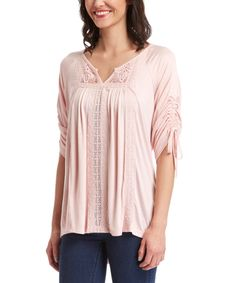 Look at this Blush Embroidered Notch Neck Top on #zulily today!