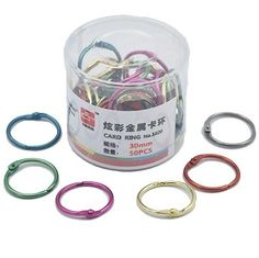 Metal Book Rings 45mm colors assorted, Baking finished, Hinged Split ...