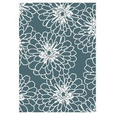 D268 Aqua and White Marigold Rug 7 X 10 (For Sitting Room/Office)