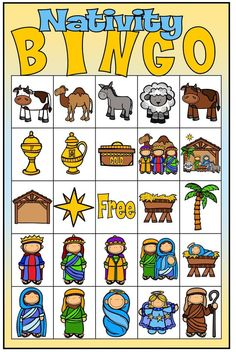 Nativity Bingo digital file with call out by ChelsiDallCreations School Christmas Party, Christmas Bingo, Christmas Games For Kids, Christmas Activities, Nativity Crafts, Idees Cate, Kids Church Lessons, Sunday School Kids, Advent