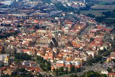 An aerial view of Plzeň or Pilsen, Czech Republic Places In Europe, Places To See, Lonely Planet, Aerial View, Czech Republic, Slovenia, Travel Destinations, Beautiful Places, Scenery
