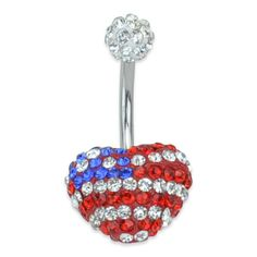 American Flag Heart CZ Belly Ring
