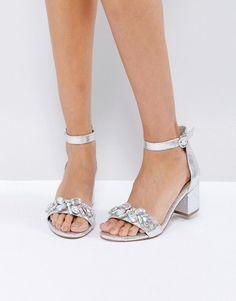 a0214f9aa03 ASOS HEAD CANDY Embellished Block Heel Sandals - Silver Silver Block Heels