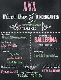 FREE First Day of Kindergarten Editable & Printable