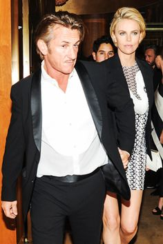 Pin for Later: Stars Let Loose at Met Gala Afterparties True Love Couples, Cute Couples, Charlize Theron Style, Sean Penn, Famous Couples, Beautiful Couple, American Actors, Beautiful Actresses, Hats For Men
