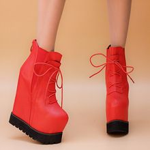 2015 women's shoes autumn and winter boots lacing martin boots high-heeled boots 16cm wedges platform boots female(China (Mainland))