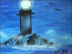 Painting of a lighthouse by Kurt Cobain, 1980.