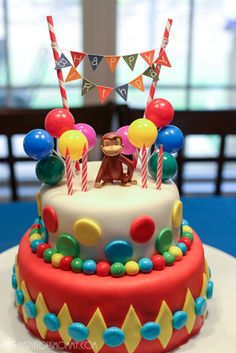 Natalie's Curious George Birthday Party « Wordless Wednesday « Marvelous Mommy – Comments Page 1 Curious George Party, Curious George Cakes, Curious George Birthday, Curious George Cake Topper, 3rd Birthday Parties, Birthday Fun, Birthday Cake, Birthday Ideas, Monkey Birthday
