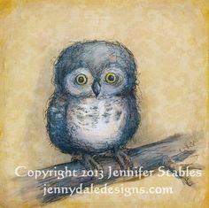 Little Grey Hoot- cute grey owl : 10x10 giclee canvas print on Etsy, $45.00 CAD