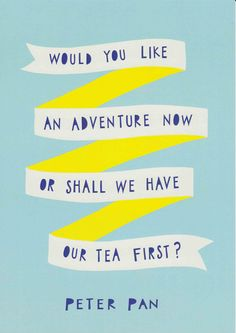 Peter Pan Nursery Quote Blue Yellow Print by violetandalfie