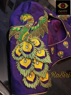 Peacock themed Aari / maggam work blouse designs for silk sarees – Fascinate Blouses Cutwork Blouse Designs, Saree Blouse Neck Designs, Fancy Blouse Designs, Bridal Blouse Designs, Chudidhar Neck Designs, Dress Neck Designs, Hand Designs, Sleeve Designs, Hand Work Blouse Design