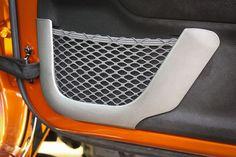 Door Net Trim, Front Row, Brushed Silver; 11-17 Jeep Wrangler JK