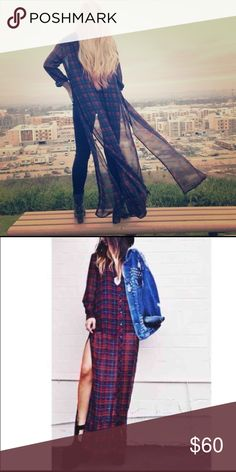 LF plaid chiffon duster by Millau Stunning piece! Perfect over a bralette and shorts/skirt or with a pair of jeans and a jacket over it! Purchased last year, tags still on. Runs long, might need tailoring of a pair of JC litas will do the trick! LF Tops Button Down Shirts