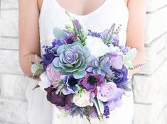 Purple Bouquet, Boho Bouquet, Rustic Bouquet, Succulent Bouquet, Purple Lilac Bouquet, Fall Bouquet, Silk Fall Bouquet, Silk Wedding Bouquet