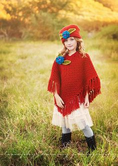 The Maggie Crochet Poncho and Hat Set. $60.00, via Etsy.