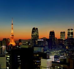 Tokyo' Downtown view at sunset