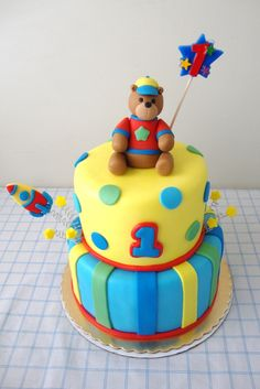 Hugs & Stitches Boy's 1st Birthday Cake