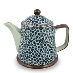 Japanese Porcelain Navy Flower Teapot