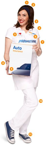 Dress Like Flo this Halloween; Progressive's website offers PDF files for recreating her nametag, button, insurance box, etc. What a fun idea!