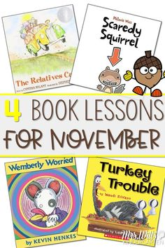 November read aloud lessons for kindergarten and first grade.  These books and lesson ideas will help deepen your students' reading comprehension skills.   The close reading lessons are designed to teach and strengthen your classrooms' reading strategies as well as offer phonics, phonemic awareness, grammar, and craft ideas. Books Featured The Relatives Came by Cynthia Rylant, Wemberly Worried by Kevin Henkes, Scaredy Squirrel by Melanie Watt, Turkey Trouble by Wendi Silvano